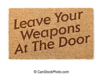 verlof, deurmat, welkom, wapens, witte , jouw