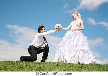 verloofde, entrusts, bouquetten, om te, de, bruid