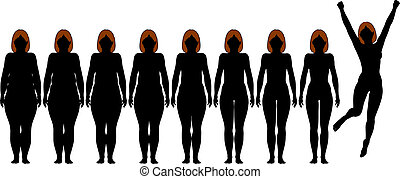 verlust, frau, gewicht, anfall, nach, diät, silhouetten, ...
