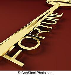 vermögen, gold, reichtümer, schlüssel, darstellen, glück