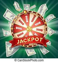 vermögen, rad, banner, vector., bunte, wheel., gluecksspiel, jackpot, hintergrund., glühen, kasino, klub, abbildung