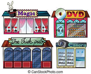 vermaak, gebied, dvd, en, fototoestel, winkel