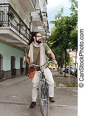 vermakelijk, aardig, man, gebruik, een, fiets