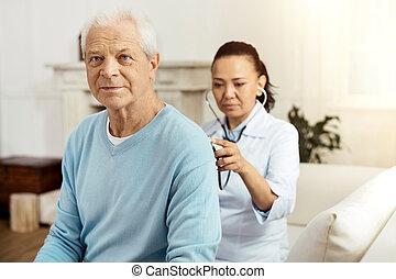 vermakelijk, oudere man, hebben, een, medisch onderzoek