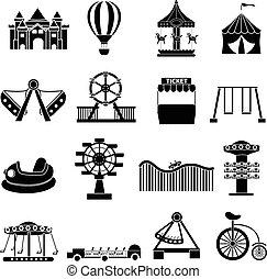 vermakelijkheid park, iconen, set