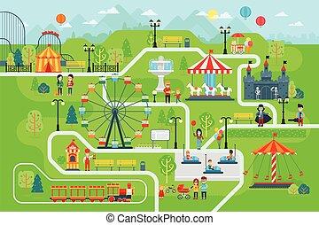 vermakelijkheid park, kaart, infographic, communie, in, plat, vector, design.