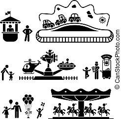 vermakelijkheid park, pictogram, iconen, set
