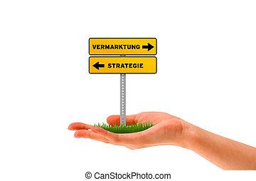 vermarktung, -, strategie