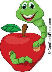 verme, caricatura, maçã vermelha