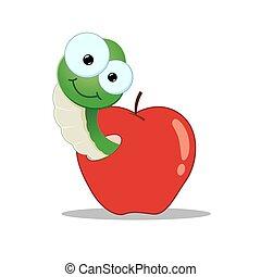 verme, caricatura, maçã
