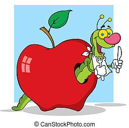 verme, fundo, maçã