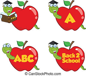 verme, in, mela rossa, set, collezione