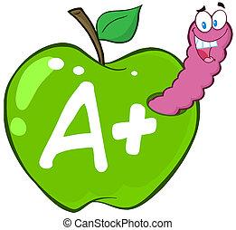 verme, lettera, mela verde
