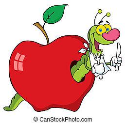 verme, maçã, caricatura