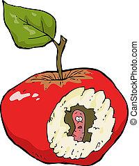 verme-mangiato, mela