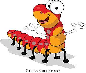verme, rosso, cartone animato