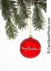 vermelho, árvore natal, bola, com, asseado, -, rote,...