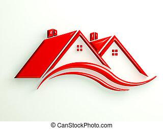 vermelho, ícone, casas, com, swoosh