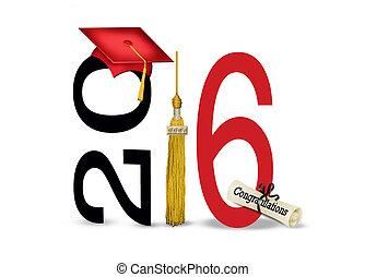 vermelho, 2016, boné graduação, e, tassel