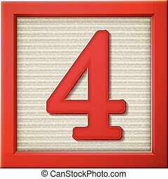 vermelho, 3d, 4, bloco, número