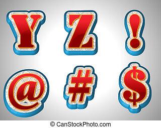 vermelho, 3d, alfabeto, com, grande, fonte, estilo