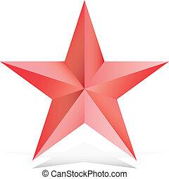 vermelho, 3d, estrela, ilustração