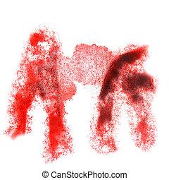 vermelho, abstratos, insulto, aquarela, desenho, fundo, seu