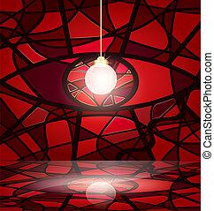 vermelho, abstratos, sala