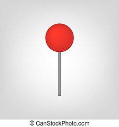 vermelho, alfinete mapa, ícone
