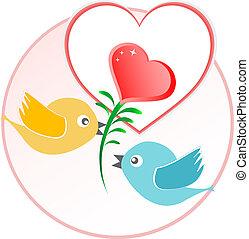 vermelho, ame pássaro, com, coração, balões, sobre, bege, vetorial, fundo