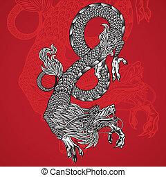vermelho, antiga, fundo, dragão chinês