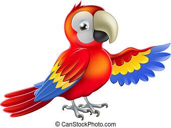 vermelho, apontar, caricatura, papagaio
