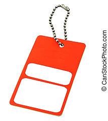 vermelho, aprece etiqueta, com, espaço cópia