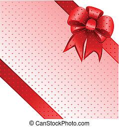 vermelho, arco presente, cartão, nota, vetorial