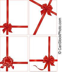 vermelho, arcos, cobrança, presente, ribbons.