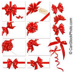 vermelho, arcos, vector., cobrança, ribbons.