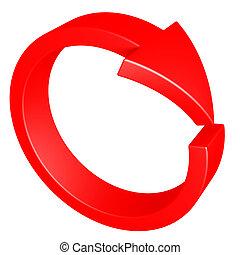 vermelho, arrow., cycle.
