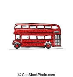 vermelho, autocarro, esboço, para, seu, desenho