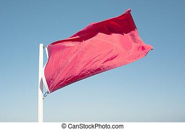 vermelho, aviso, bandeira