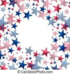 vermelho, azul, estrelas, em, redondo, quadro, para, cartão, template.
