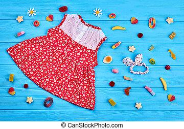 vermelho, baby-girl, algodão, dress.