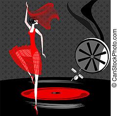 vermelho, bailarina