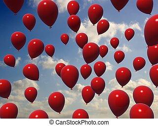 vermelho, balões
