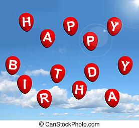 vermelho, balões, em, a, céu, soletrando, feliz aniversário