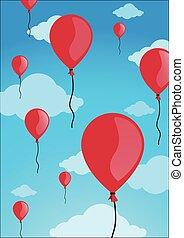 vermelho, balões, em, a, céu, vetorial, ilustração