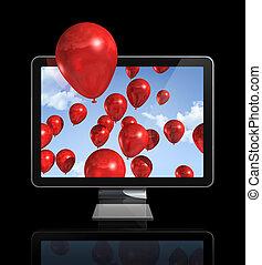 vermelho, balões, em, um, 3d, tela tv