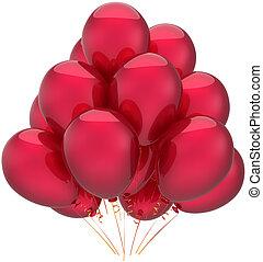 vermelho, balões, partido aniversário, conceito