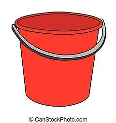 vermelho, balde, isolado, ilustração, caricatura
