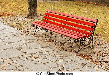 vermelho, banco, parque