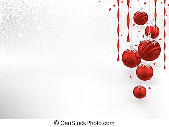 vermelho, baubles, fundo, natal